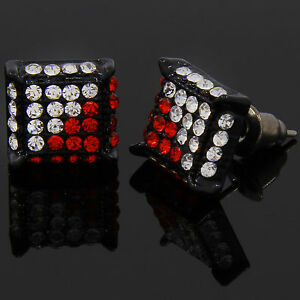 Mens Black Red Cz Cube Hip Hop Micro Pave Stud Earrings