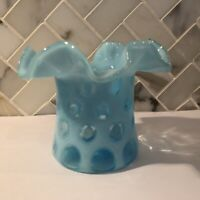 Vintage Fenton Aqua Blue Opalescent Coin Dot Top-Hat Vase With Ruffled Edge
