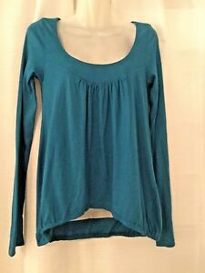 ANTHROPOLOGIE Womens Blouse Teal Blue Top Scoop Neck Elastic Waist Size XS