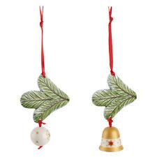 VILLEROY & BOCH Tannenzweig Glocke/Kugel 2er-Set Christbaumschmuck Weihnachten