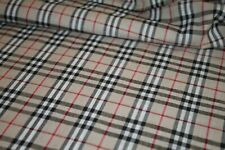 Burberry plaid fabric.Cotton tartan fabric.Beige burberry fabric