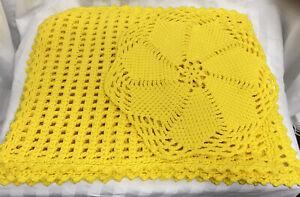 Set of 4 Vintage Hand Crochet Yellow Placemats & Crochet Table Centerpiece Mat