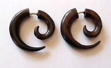 Faux écarteur boucles d'oreilles spirale piercing bois d'ébène Diamètre : 2,5 cm