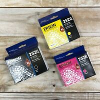 3 Pack Epson Genuine 252XL Black, Yellow and Magenta Sealed Exp. 2021