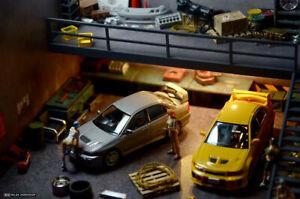 1:64 Car Model Diorama Parking Scenery DIY Scene Double Deck Garage USB Display