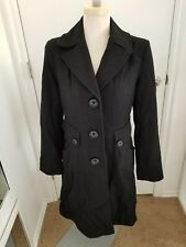 Women's GUESS Trench Coat Black Wool Military Ruffle Bow Cute Winter Medium M