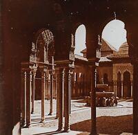 Grenade Alhambra Spagna Foto Stereo PL52P1n21 Placca Da Lente Vintage