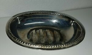 """Vintage Tarnished Silver Soap Dish Oval with Bead Trim 5.75 x 4.5 x 1.5"""""""