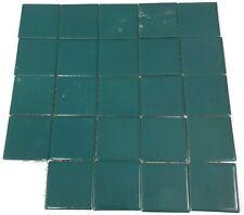"Vtg SMALL 2.25"" DARK GREEN CERAMIC TILES Lot of 19 Bathroom Kitchen Shower Wall"