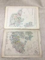 1858 Antik Map Of Dänemark Schleswig-Holstein Hand- Farbig Alte 19th Jahrhundert