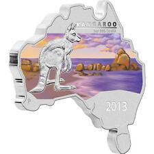 AS NEW CONDITION AUSTRALIAN MAP SHAPED COIN SERIES:KANGAROO 2013 1OZ SILVER COIN