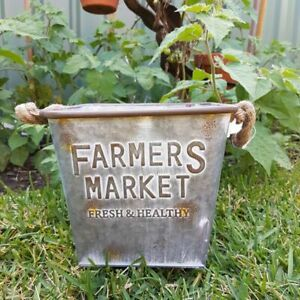 GALVANISED METAL COUNTRY FARMERS MARKET PLANTER POT TUB BUCKET