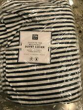 Pottery Barn Teen Favorite Tee Striped Reversible Duvet Cover Full/Queen Navy