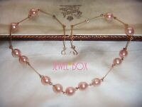 ART DECO ADORABLE PINK FAUX PEARL ROLLED GOLD Vintage NECKLACE Delightful Gift