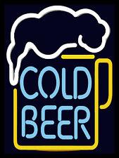 Cold Beer Neon print, Retro metal Aluminium Sign vintage / man cave / Bar/ Pub