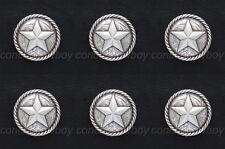 "Set of 6 Western Antique Round Rope Edge Star Saddle Conchos 1-1/4"" screw back"