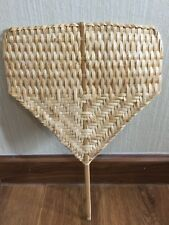 Thai Natural Handmade Hand Fan Bamboo Gift Craft Weave Handcraft Vintage Wood