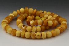 ANTIQUE Vintage Egg Yolk Beads Genuine BALTIC AMBER Necklace 20.9g n150917-1