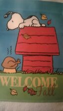 SNOOPY GARDEN FLAG WELCOME FALL SNOOPY WANTS  THE TURKEY!