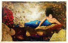"JANET TREBY  ""ELYSIAN DAYS I"" SIGNED EMBELLISHED CANVAS  20X32"" 