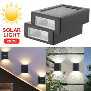 2PC Garden Led Lights Solar Power for Outdoor Garden Wall Mount Exterior Lights