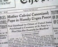 MOTHER CABRINI Canonized & Howard Hughes Test Airplane CRASH 1946 Old Newspaper