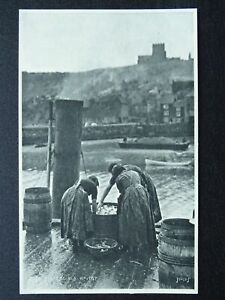Yorkshire WHITBY Fishergirls sorting fish in Barrels c1915 Postcard by Judges
