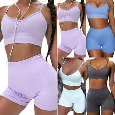 Summer Women 2 Pieces Tracksuit Set Tank Top + Leggings Shorts Gym Sports Wear