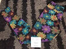 Lularoe OS Digital Hippie Flower Black Spring Blue Yellow Digi Floral Daisy NWT