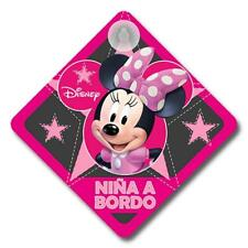 MINNIE111 - Cartel niña a bordo coche Minie Disney