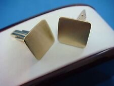 14K YELLOW GOLD CLASSIC MEN'S CUFFLINKS WITH SATIN FINISH ENGRAVABLE TOP, 7.8 GR