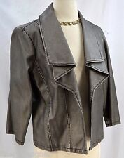 Baccini Faux VegAn Leather JACKET Moto light coat LINED blazer pewter M VTG NEW