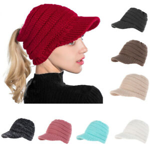 Ladies Soft Ponytail Beanie Hat High Messy Stretch Knitted Cap Warm Hats Winter