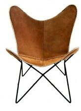 Joseph Brown Butterfly Chair Iron Stand and Leather Cover Indoor Outdoor Chair