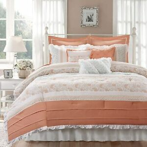 Coral Taupe Green Paisley Lace Pintuck 9 pc Comforter Set Queen Cal King Bedding