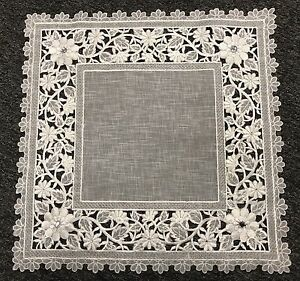 "2 Pcs 16"" Embroidery Organza Rhinestone Doily Square White Silver Wedding Party"