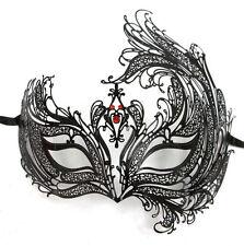 Black Bird of Paradise Red Crystal Laser Venetian Masquerade Metal Filigree Mask
