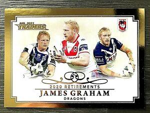 2021 NRL TRADERS '2020 RETIREMENTS' TRADING CARD - JAMES GRAHAM/DRAGONS