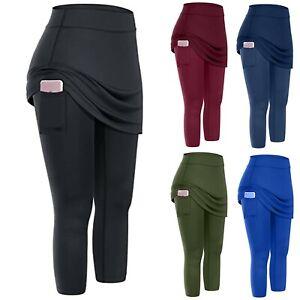 Women Tennis Skirts Yoga Inner Shorts Pants Elastic Sports Golf Pockets Leggings