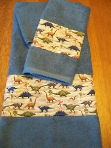 NEW CUSTOM DECORORATED DINOSAUR  3 PC TOWEL SET BLUE