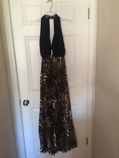 LEOPARD PLEATED MAXI DRESS WITH PEEP BACK  SZ 6  NEW DILLARDS WITH TAGS