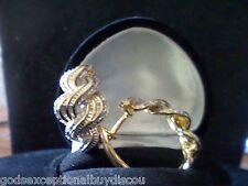 DIAMOND ETERNITY HUGGIE HOOP EARRINGS SNAP BACK ROUND BAGUETTE + gift 3/4 INCH