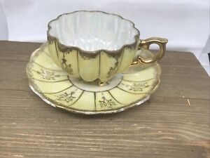 Royal Sealy Lusterware Three Footed Yellow & Gold Scallop Tea Cup/Saucer 1940-50