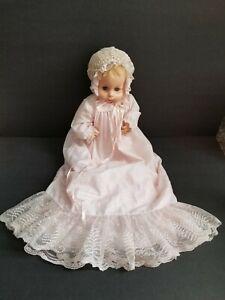 "Vintage Horsman Baby Doll 253 Blue Eyes Blonde Hair 17""  Christening Clothes EUC"
