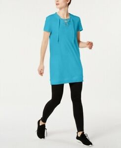 Ideology Womens Tunic Top Blue Size Large L Solid Lace-Up V-Neck $49 303