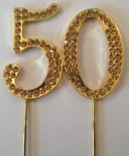 GOLD 50TH BIRTHDAY DIAMANTE CAKE TOPPER DECORATION 50 FIFTY ANNIVERSARY GOLDEN