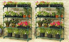 2x Plastic 4 Tier Garden Shelving Units Greenhouse Display Shelves Outdoor Shelf