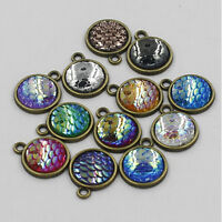 5/10/20X Charms Resin Metal Mermaid Fish Scale Pendant Necklace DIY Jewelry