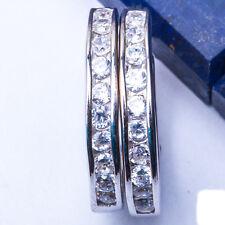 """1.50CT Russian CZ 3mm Hoop .925 Sterling Silver Earrings .75"""""""