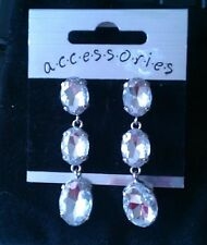 Silver Tone Coloured Diamante Crystal 3 Tier stone Hoop Dangle Earrings £1.99